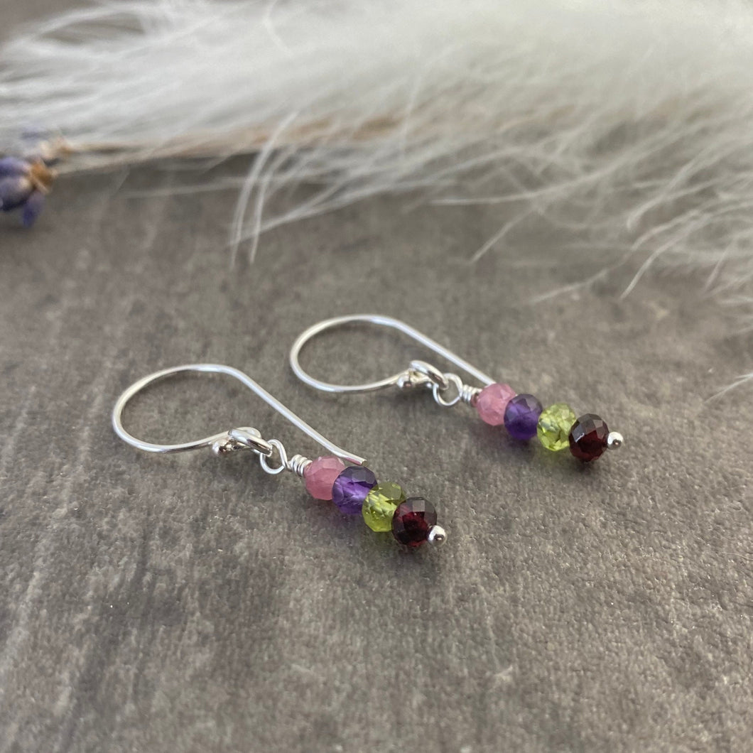 Birthstone Earrings Personalised with Family Birthstones in Sterling Silver