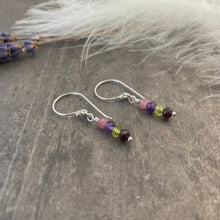 Load image into Gallery viewer, Birthstone Earrings Personalised with Family Birthstones in Sterling Silver