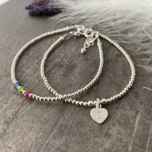 Personalised Family Birthstone Stacking Bracelet Set, Initial Bracelet, Mum jewellery, Daughter gift