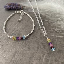 Load image into Gallery viewer, Family Birthstone Bracelet and Necklace Jewellery Set in Sterling Silver