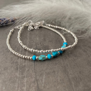 Set of Silver & Turquoise Bracelets, Dainty Turquoise Bracelet in Sterling Silver, Boho Jewellery, Bracelets for Women, Turquoise Jewellery