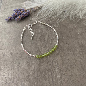 Peridot August Birthstone Bracelet, dainty stacking bracelet in sterling silver
