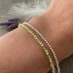 Dainty August birthstone jewellery set, Peridot bracelet and necklace set