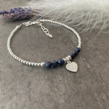 Load image into Gallery viewer, Personalised September Birthstone Bracelet, Dainty Sapphire Bracelet in Sterling Silver, Sapphire Birthstone Bracelet, silver bracelet