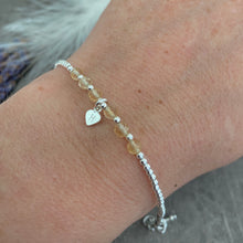 Load image into Gallery viewer, Personalised Citrine Bracelet, Dainty November Birthstone Jewellery in Sterling Silver