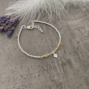 Personalised Citrine Bracelet, Dainty November Birthstone Jewellery in Sterling Silver