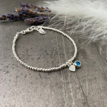 Load image into Gallery viewer, Dainty December Birthstone CZ Initial Bracelet, Personalised Jewellery