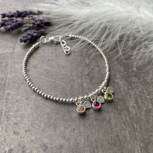 Personalised Cubic Zirconia Birthstone Charm Bracelet with Initials, Christmas Gift for Mum, Family Birthstone Jewellery