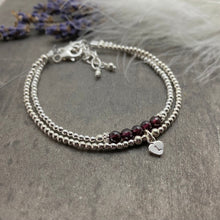 Load image into Gallery viewer, Personalised Garnet Bracelet Set, January Birthstone Jewellery, Initial Bracelets, Garnet Jewellery