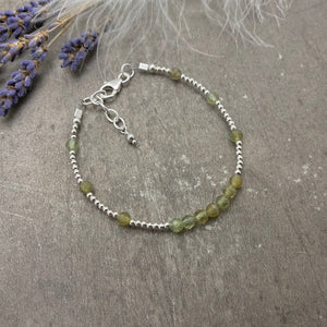 Green Garnet January Birthstone Bracelet, Green Garnet Jewellery in sterling silver