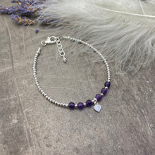 Load image into Gallery viewer, Personalised Amethyst Bracelet, Dainty February Birthstone Jewellery in Sterling Silver, Initial Bracelet, Silver Bracelets for Women