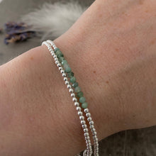 Load image into Gallery viewer, Two Stacking Bracelet Set with Green Emerald, May Birthstone, Dainty Sterling Silver Layering Bracelets