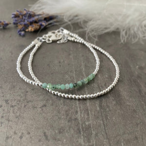 Two Stacking Bracelet Set with Green Emerald, May Birthstone, Dainty Sterling Silver Layering Bracelets