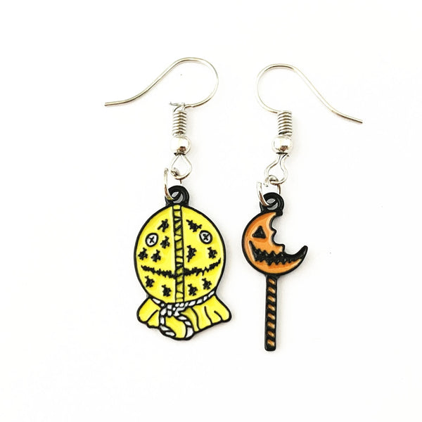 Horror Film Inspired - Annabelle, Conjuring, Saw, Captain Spaulding, Hellraiser, Leatherface, Sam Doll Trick 'r Treat  - Horror Color Earrings