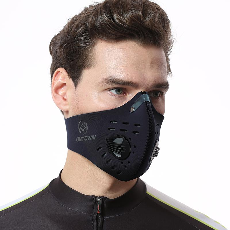 XINTOWN Dustproof Mask Activated Carbon Filtration Exhaust Gas Anti Pollen Allergy PM2.5 Face Mask for Running Cycling and Other Outdoor Activities