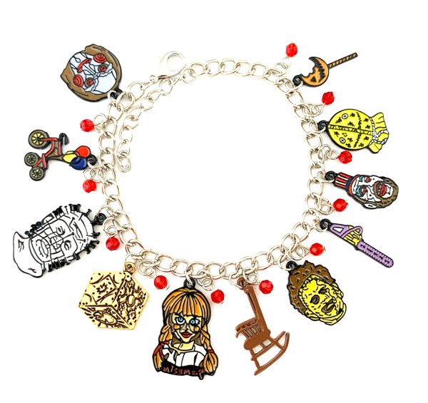 Horror Film Inspired - Annabelle, Conjuring, Saw, Captain Spaulding, Hellraiser, Leatherface, Sam Doll Trick 'r Treat  - Horror Color Bracelet
