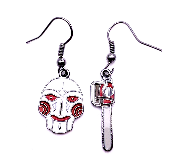 Horror Film Inspired - Saw, IT, Nightmare on Elm Street, Friday the 13th, Jason, Chucky, Scream - Color Earrings