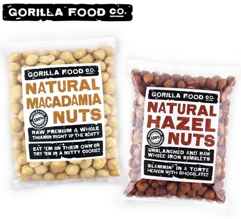 Macadamia Nuts + Hazelnuts Whole - 2 x 1lb Combo Pack - Gorilla Food Co. USA