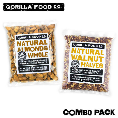 Almonds Whole + Walnut Halves - 2 x 1lb or 2 x 2lb Combo Pack - Gorilla Food Co. USA
