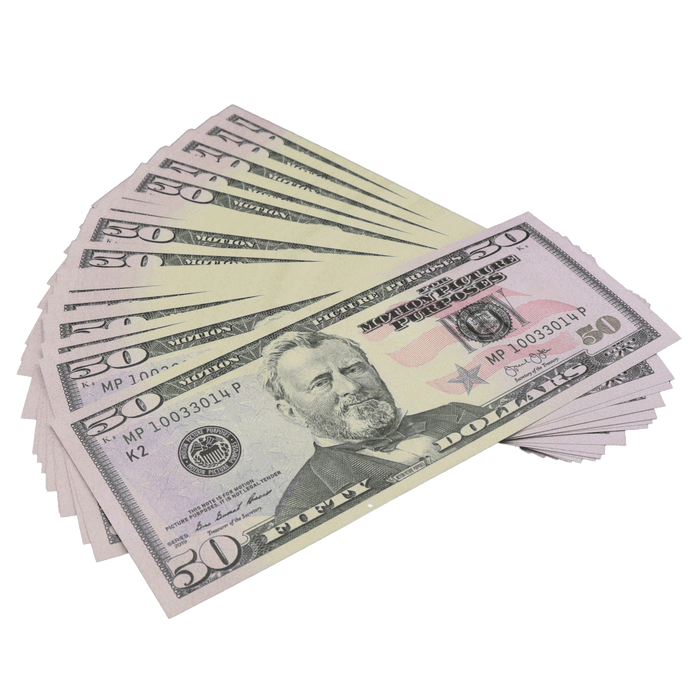 25x $50 Bills - $1,250 - New Series Full Print Prop Money - PropMoney.com
