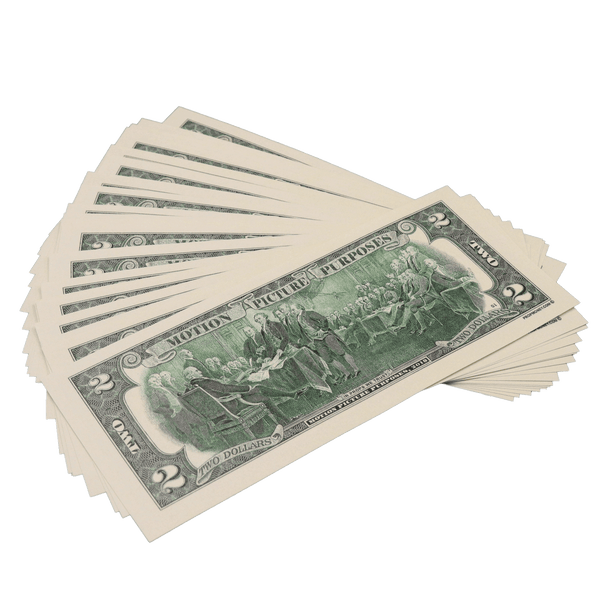 25x $2 Bills - $50 - 1990s Series Full Print Prop Money - PropMoney.com