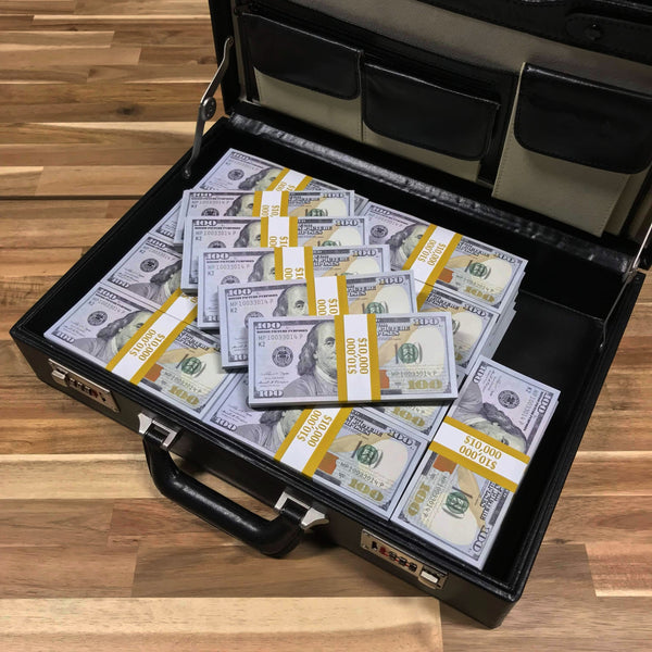 $500,000 New Series Full Print Stacks Briefcase - PropMoney.com