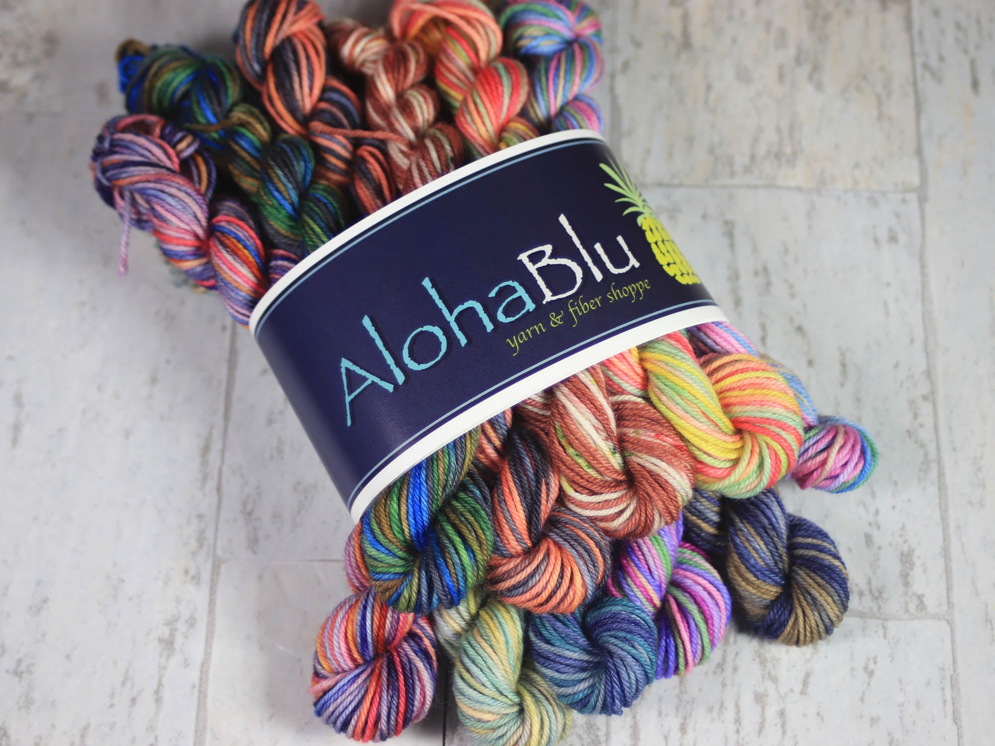 "MENEHUNE MINI SKEINS ""3-State Mini's Set"": 10x - 10gram Hand-dyed sock yarn - Center pull balls - Inspired by Hawaii, California, Alaska"