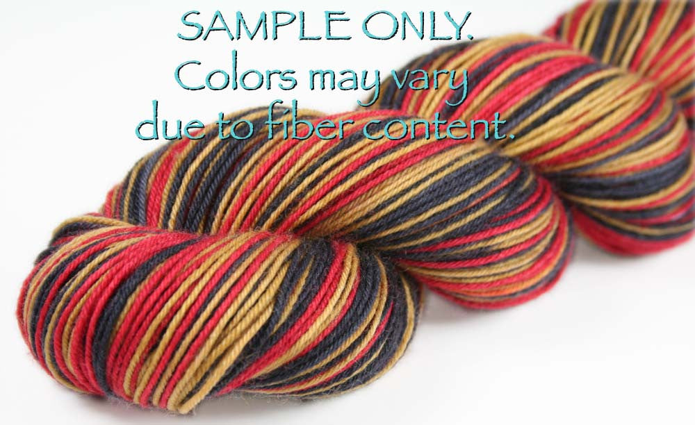 Dyed-To-Order: RED-GOLD-BLACK - Hand dyed Sports Self Striping Sock Yarn - SAN FRANCISCO, OTTOWA