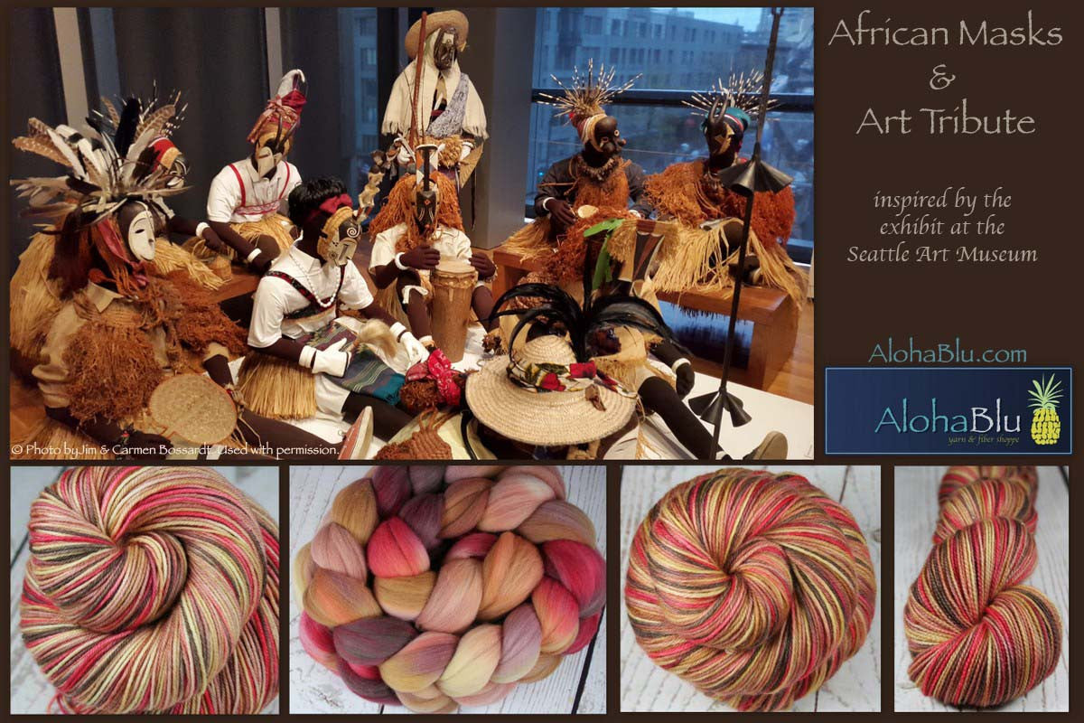 AFRICAN MASKS & ART TRIBUTE: Rambouillet Wool Top - 4 oz - Hand dyed wool - Indie dyed wool - Hand dyed top roving - Brown red gold wool - Art inspired