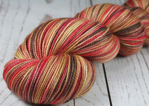 AFRICAN MASKS & ART TRIBUTE: SW Merino-Nylon-Stellina - Hand dyed Sparkle Variegated sock yarn