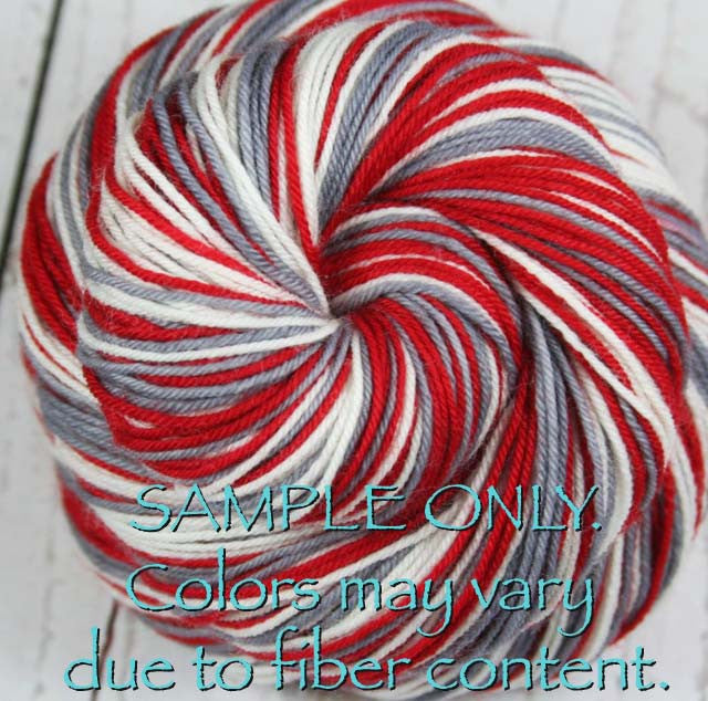 Dyed-To-Order: RED-GRAY-WHITE - Hand dyed Sports Team Self Striping Sock Yarn - ALABAMA, OHIO