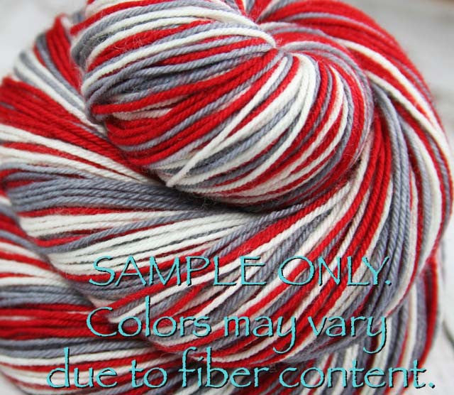 "Dyed to Order: Sports inspired Self-striping Sock Yarn - ""RED - GRAY - WHITE"" - Hand dyed sock yarn - Sports Team colors - School colors yarn - ALABAMA, OHIO"