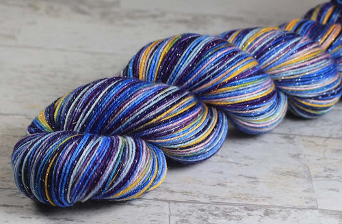 ALL THE WORLDS OCEANS: SW Merino-Lurex Sparkle - Hand dyed Variegated yarn