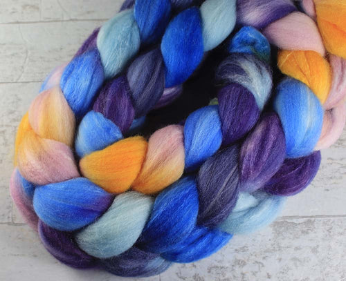 ALL THE WORLDS OCEANS: Merino / SW Merino / Silk roving - 4.0 oz - Hand dyed spinning wool