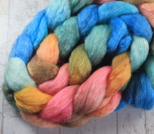 AND SO, THE NIGHT BEGINS: Bluefaced Leicester / Sparkle Nylon - 4.0 oz - Hand dyed spinning wool - roving