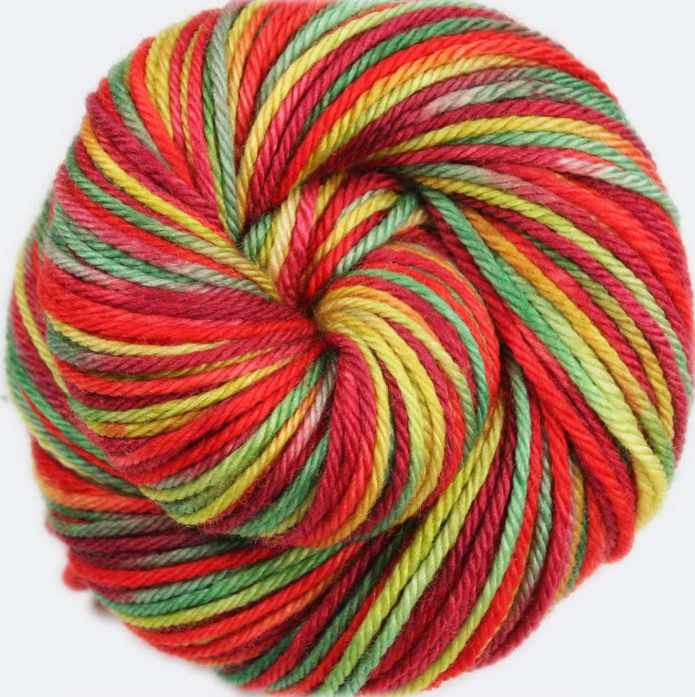 APPLE PICKING: Superwash Merino - Worsted Weight Hand dyed Variegated Yarn - Fall colors