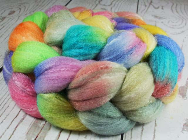 AQUARIUM: Rambouillet Silk Wool Top - 4 oz - Hand dyed wool - Indie dyed wool - Hand dyed top roving - Marine life