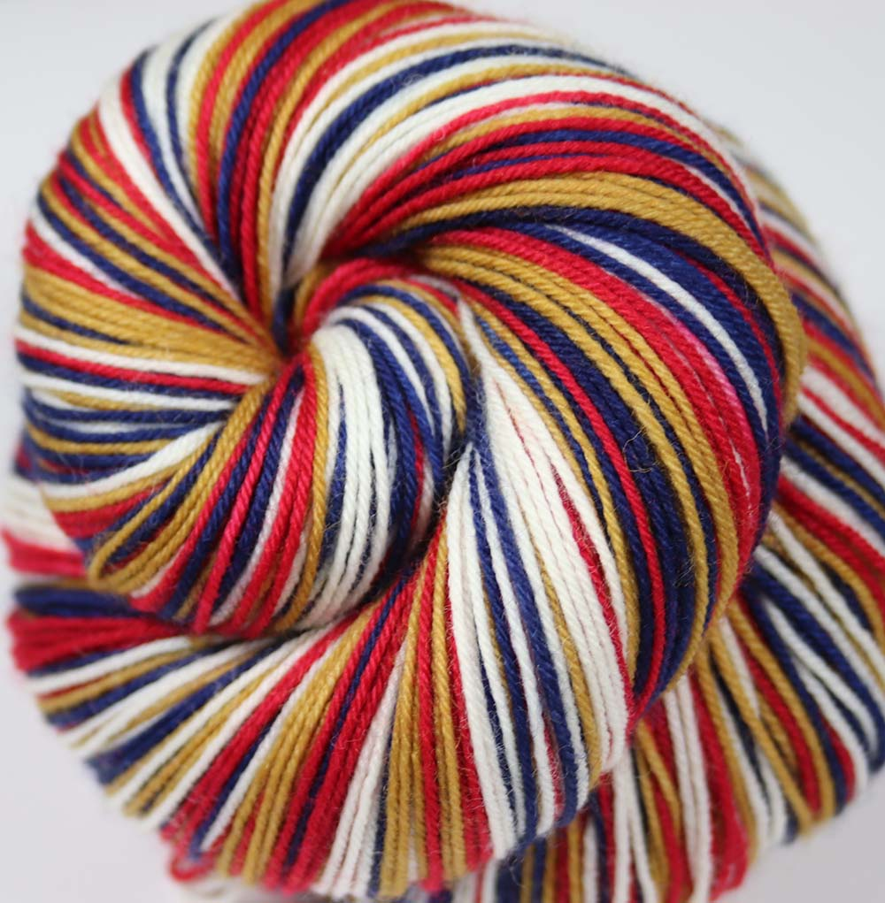 Dyed-To-Order: BLUE-GOLD-RED-WHITE - Hand dyed Sports Team Self Striping Sock Yarn - LONDON