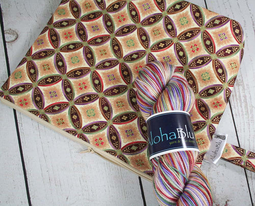 Asian Circles Yarn Kit - Handmade zipper project bag - Handdyed sock yarn