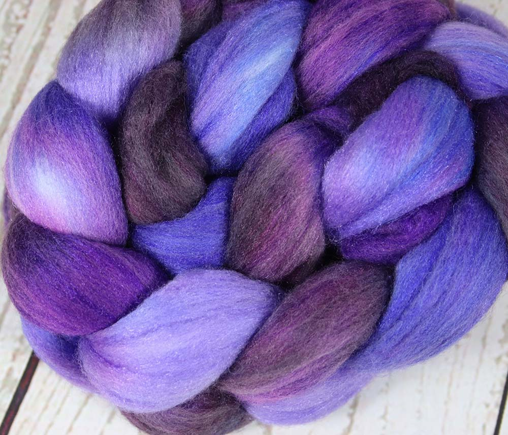 A STUDY IN PURPLES: Polwarth Merino Bright Nylon roving - 4.0 oz - Hand dyed Spinning wool