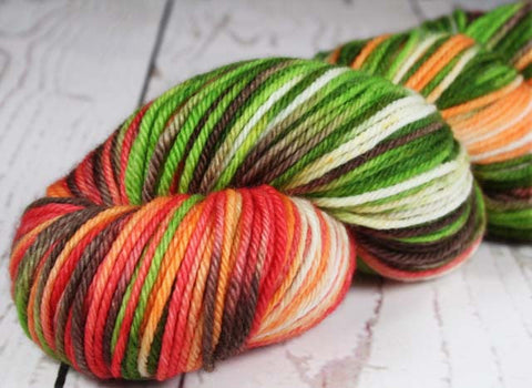 GREEN CAMO: SW Merino - Hand dyed - Worsted weight self-striping yarn