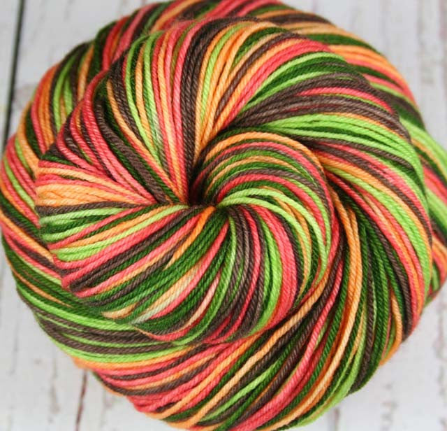 AVOCADO CHEESECAKE: Superwash Merino Wool Fingering/Sock yarn - Hand dyed sock yarn - Self-Striping Sock yarn - Indie dyed cheesecake inspired sock yarn