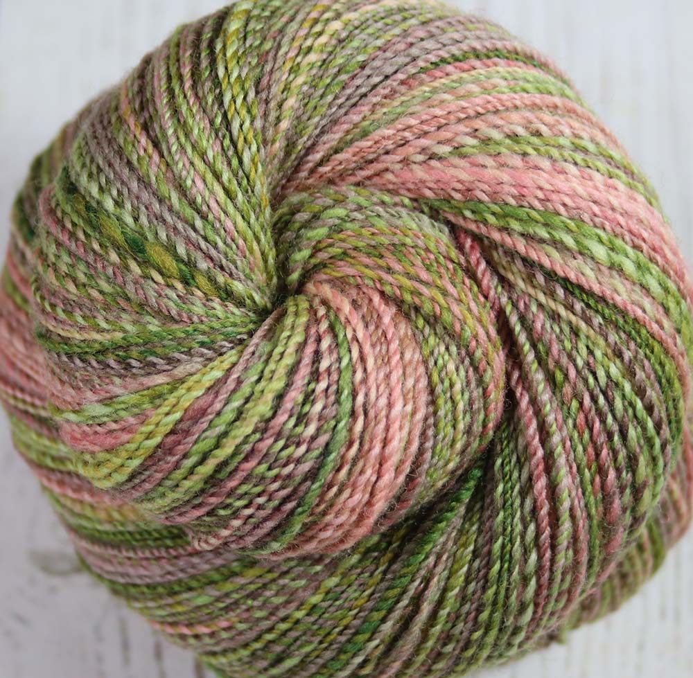 AVOCADO CHEESECAKE - Hand dyed, hand spun fingering weight yarn