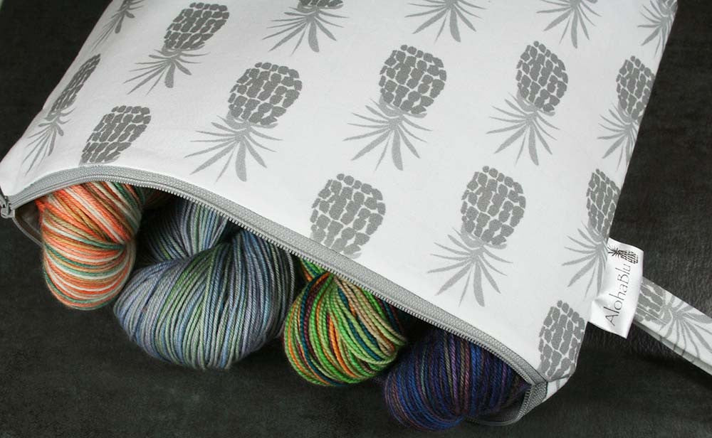 Pineapple Project Bag - White/Gray handmade zipper bag - knitting - crafts - custom fabric