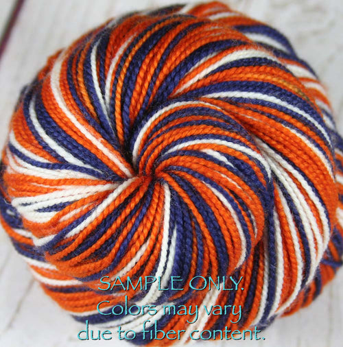 Dyed-To-Order: BLUE-BURNT ORANGE-WHITE - Hand dyed Sports Team Self Striping Sock Yarn - CHICAGO