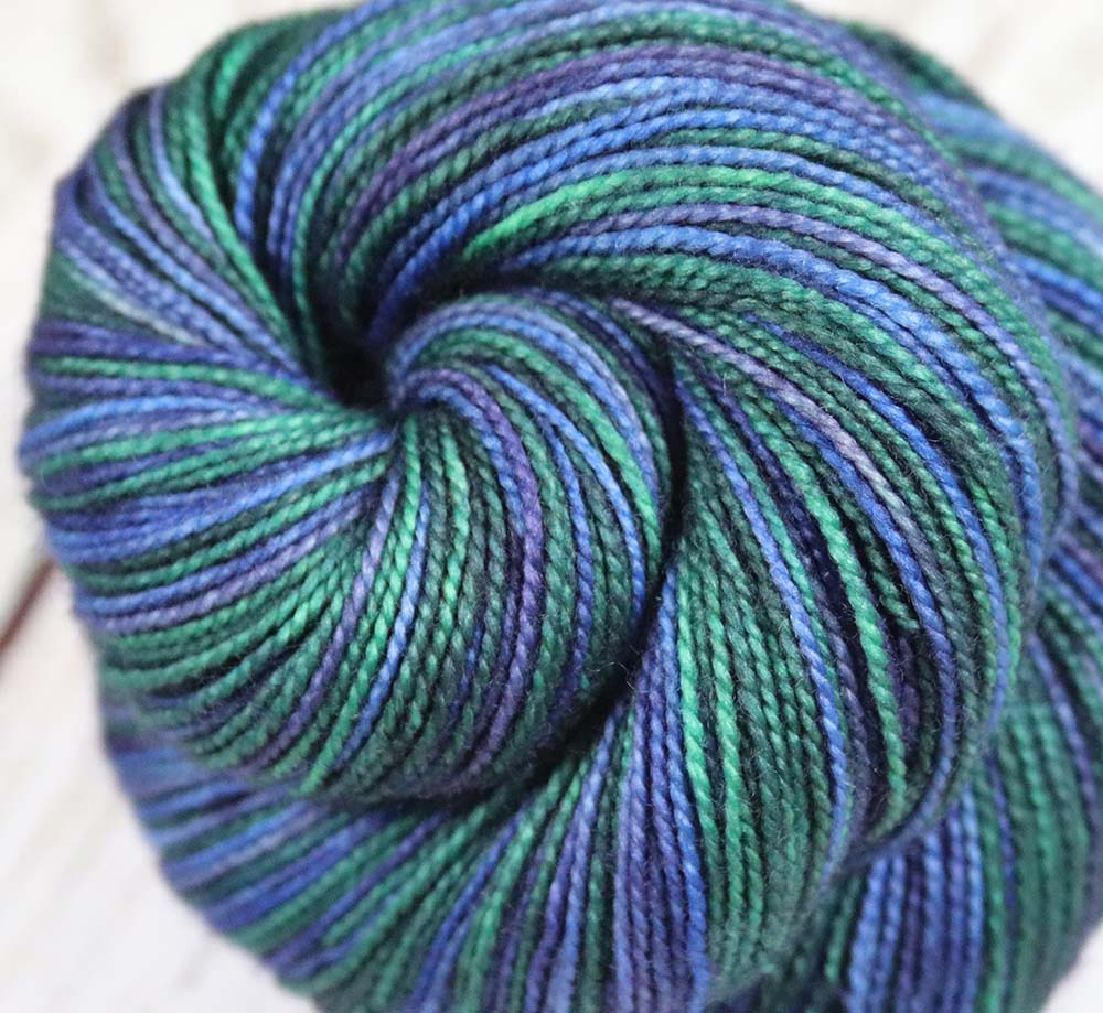 BLUES & GREENS: SW Merino-Nylon - Hand dyed Self-striping sock yarn - Tight Twist - OOAK yarn