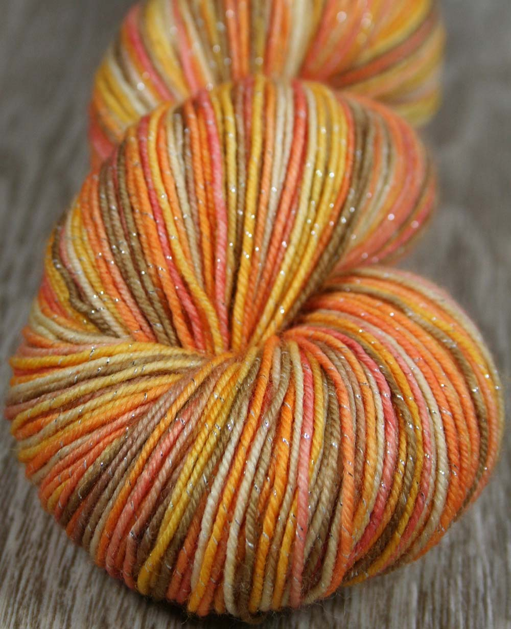 BLUSHING PEACH COBBLER: SW Merino-Lurex Sparkle Sock Yarn - Hand dyed Variegated yarn