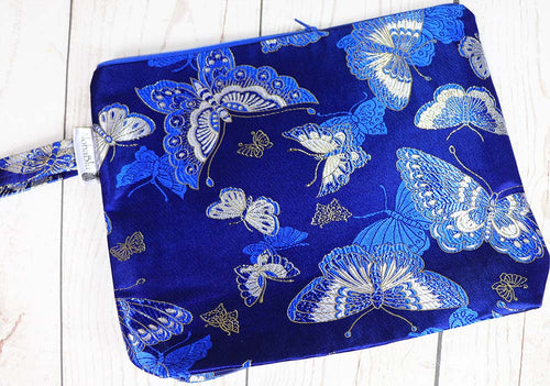 BLU BUTTERFLY Project Bag - handmade zipper project / knitting bag