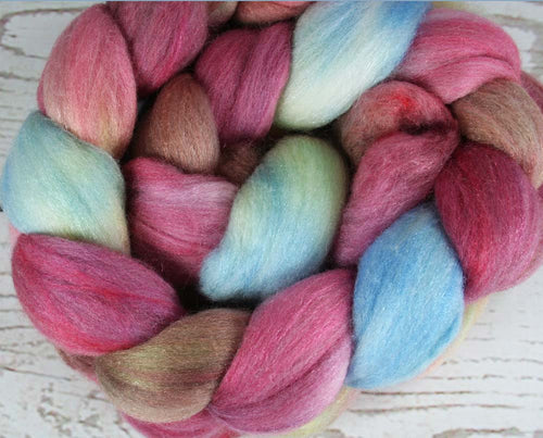 BOX of CHOCOLATES: Polwarth Merino Bright Nylon roving - 4.0 oz - Hand dyed wool roving - Valentine's Day wool roving - Spinning wool roving