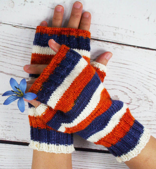 Blue/Orange/White Fingerless Mitts - Hand dyed Handmade striped mitts - Medium size